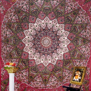 "Indian Mandala Star Elephant tatpestry Hippie Hippy Wall Hanging,Wall Decor,Bed Spread Wall art,Beach Coverlet Throw, Curtain 92"" x85"""