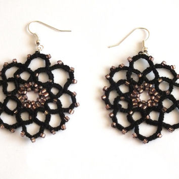 Black Flower Tatted Earrings with Brown Beads, 8 Petals Flower Tatted Lace Earrings, Black Flower Tatting Earrings, Black  Lace Earrings