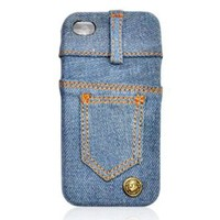 Waterwash Back Blue Jeans Back Case for iPhone 4/4s