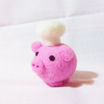 Needle Felted Pig   miniature chef pig figure  100 by feltindevon