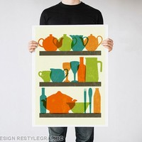 Kitchen print, Dishes silhouettes poster, Minimalist art by ReStyleGraphic