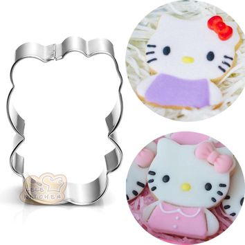 cartoon kitty KT cat metal cookie cutter biscuit stamp patisserie Sushi mold fondant cake pastry tool bakeware BG048 5*7.1cm
