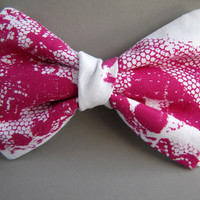 Lace Bow Tie (clip on) in Fuchsia, silkscreen LIMITED EDITION
