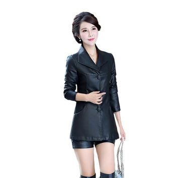 Women Leather Jackets 2017 New Fashion Spring Autumn Brand Ladies Elegant Red Slim Leather Trench Coats Female Outwear L- 6XL