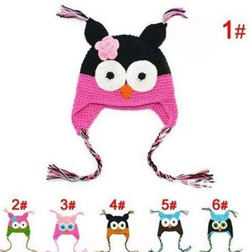 New Cute National Style Cartoon Multicolor Infant Toddler Handmade Knitted Crochet Baby owl hat with ear flap Animal Cap A297