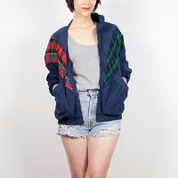 Vintage 80s Windbreaker Jacket Navy Blue Red Green Plaid Bomber Jacket 1980s Wind Breaker Track Jacket Preppy Sporty Warm Up Jacket M Medium