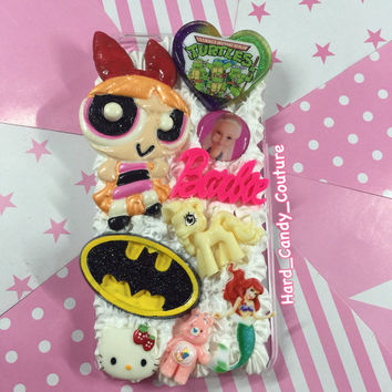 90's Cartoon iphone 6 plus whipped phone case / decoden retro phone case / kawaii TMNT Barbie The little Mermaid Batman carebear case
