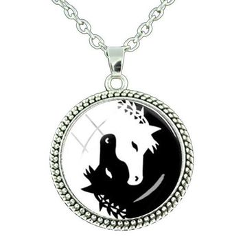 Yin Yang Horse Charm Pendant Necklace Trendy Inspirational Horse Lover Jewelry