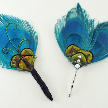 Blue Peacock Feather Hair Pin / Hair Clip / Feather Fascinator / peacock wedding / bridesmaids hair / prom / turquoise