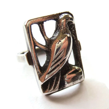 Vintage 830 silver bird ring, Danish silver openwork ring, eagle, hawk, raptor or dove, Scandinavian silver ring, Art Deco 1930s, #233.