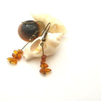 Simple Amber Earrings, Handmade Amber Chips Fossil Dangle Earrings, Baltic Amber Earrings, Genuine Amber Jewelry, OOAK Dangle Earrings