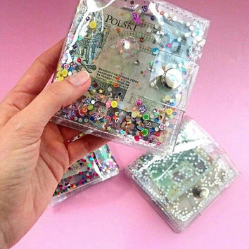 Card Holder Travel Pass Holder Kawaii Cute wallet sequins money ID holder credit Card holder transparent holder card holder clear wallet