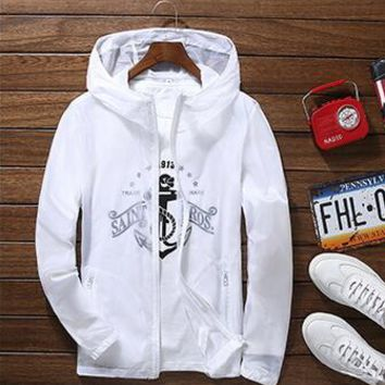 yizlo jackets summer jacket men anorak windbreaker collge jaqueta masculina white black