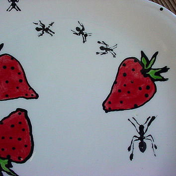Dessert plates set of two Uninvited Guests ants fruit strawberries
