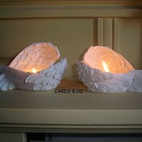 Angel Wings White Tea Light Candle Holder - MadMoon