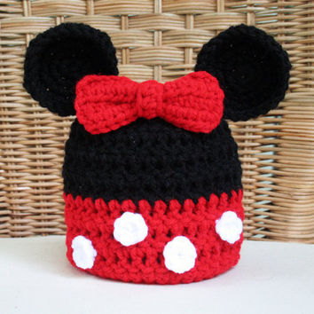Minnie Mouse Inspired Crochet Beanie Child's by TampaBayCrochet