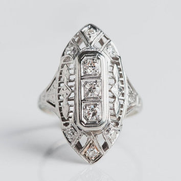 14karat White Gold Dinner Ring | Hand Crafted in the 1920s | Art Deco Style with Geometric Lines | .30tcw White Diamonds One of a Kind Ring