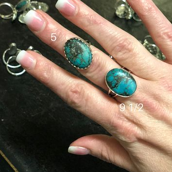 Genuine Blue Turquoise with Fun Veins Oval Ring
