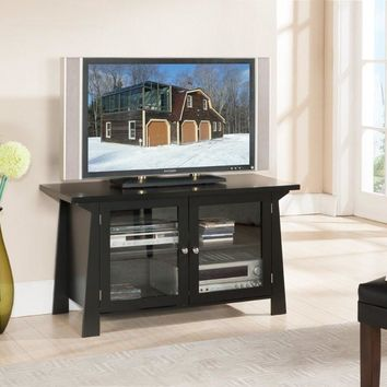 NEW! Black Finish Wood TV Stand Entertainment Center With 2 Glass Doors