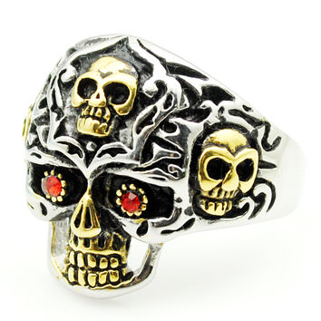 Promotion! Men's Red Crystal Eyes Skull Rings For Men Stainless steel Biker Rock Jewelry Fashion Punk Skeleton Gold&Silver HR413