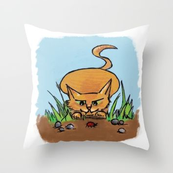 Hunting Cat Throw Pillow by Pardal Montês