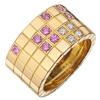 "Cartier ​Pink Sapphire Diamond Gold ""Lanières"" Band Ring"