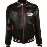 Leather Bomber Jacket Patch Logo by Gucci