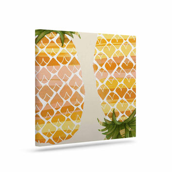 "Judith Loske ""Happy Pineapples "" Yellow Gold Canvas Art"