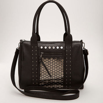 Metal Faux Leather Satchel Handbag