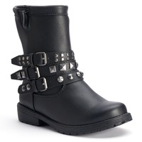 Mudd Girls' Studded Moto Ankle Boots (Black)