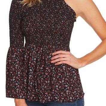 CeCe Victoria Smocked One-Shoulder Blouse | Nordstrom