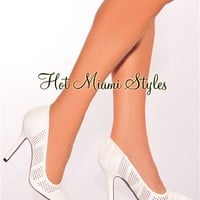 White Perforated Point Toe High Heel Pumps