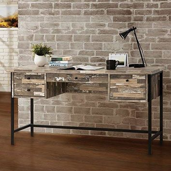 Metal Writing Desk with 4 Drawers Black Frame Front Cam Bolt and Back Screw