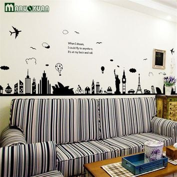 New Fashion Eiffel Tower Sydney Greek City Building Set DIY Wall Stickers Living Room Background Decor Mural Decal Wallpaper