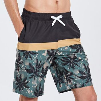 Men's Cocotree Printed Beach Board Shorts Hawaiian Quick Dry Swim Trunks Surfing Diving Swimming  Blue 3XL Free Shipping