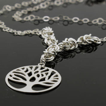 Sterling Silver Women's Necklace with Tree of Life,  Byzantine Necklace, Gift for HER, Greek Jewelry, Pendant, Sterling Silver Jewelry