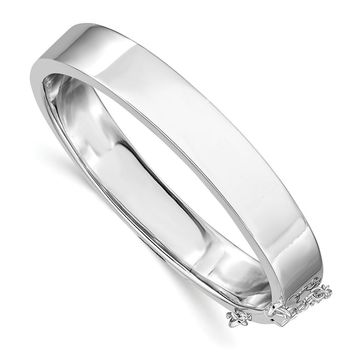 925 Sterling Silver Rhodium-plated Polished with Safety Hinged Child's Bangle Bracelet