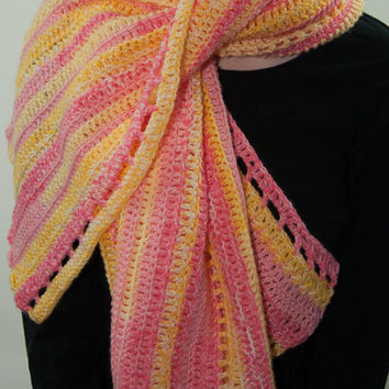 Pink and Yellow Striped Shawl, Pink and Yellow Striped Shoulder Wrap, Pink and Yellow Crocheted Wrap, Pink and Yellow Crocheted Shawl