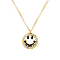 Smiley Face Emoji Pendant Gold Finish Stainless Steel Choker Dainty Chain Womens