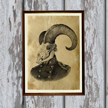 Goat poster Gothic decor Animal skull print Rustic wall art AK218