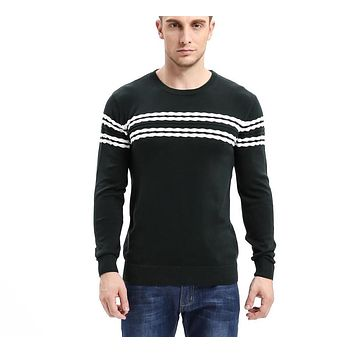 Men's Knitted Sweater Patterns Striped thick Pullover Sweaters Winter casual Round neck Cotton Sweater