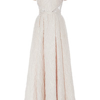 Organza Jacquard and Lace Short Sleeve Dress