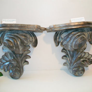 Ornate Verdigris Wall Shelf Sconces French Country