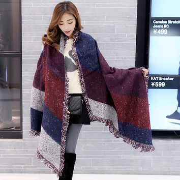 2017 Winter Warm Fashion Women Long Blanket Scarf Female Cashmere Pashmina Wool Scarf Shawl Thick Scarves Cape Wraps Poncho