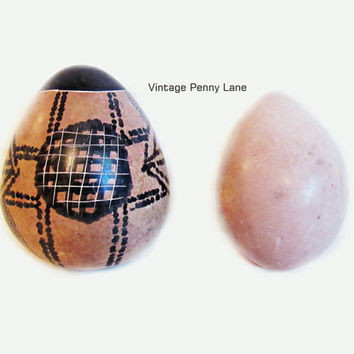 2 Polished Stone Eggs, One Hand Painted