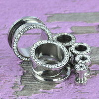 Clear CZ Gem Rim Steel Ear Tunnels