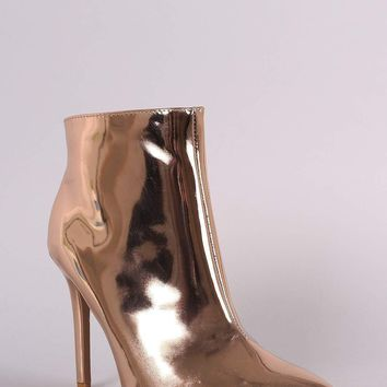 Qupid Metallic Pointy Toe Stiletto Ankle Boots