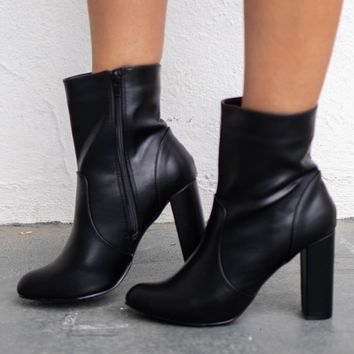 With You Again Black Side Zipper Bootie