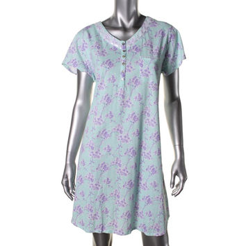 Eileen West Womens Pima Cotton Floral Print Nightshirt