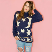 Vintage Moon and Star Sweater Witchy 90s Novelty Contempo Casuals Oversized S Mock Neck